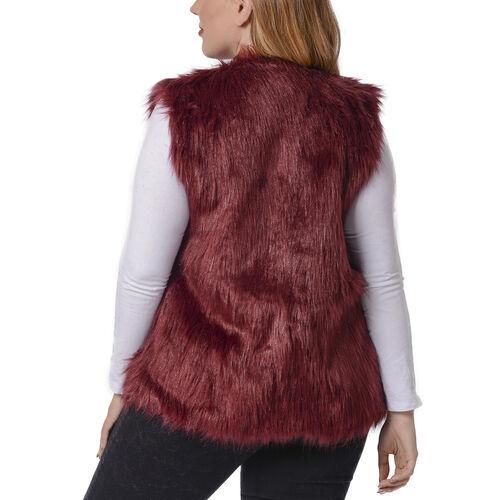 Wine Colour Faux Fur Gilet  (One Size Fits all)