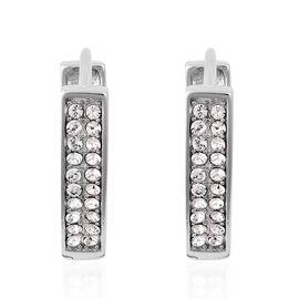 J Francis - Crystal from Swarovski White Crystal (Rnd) V Shape Hoop Earrings in Platinum Overlay Ste