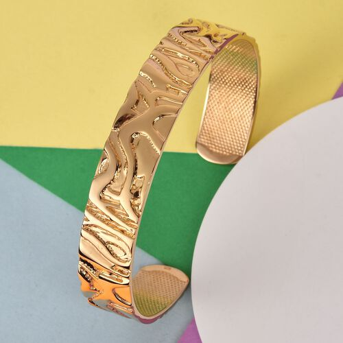 Designer Inspired- 14K Gold Overlay Sterling Silver Cuff Bangle (Size 7.5), Silver wt 28.25 Gms.