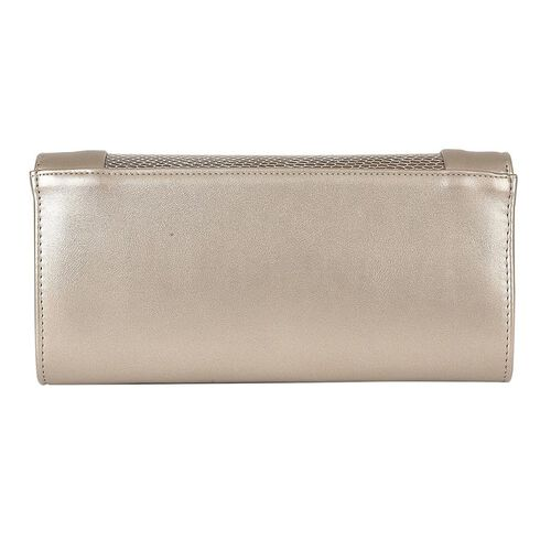 Lotus Snake Print Zonda Occasion Clutch Bag with Detachable Shoulder Chain Strap (Size 26x13x5 Cm) - Pewter