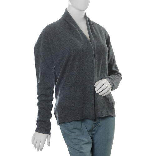 80% Lamb Wool and 20% Nylon Eclipse Melange Waterfall Cardigan (Size L 70x52.7 Cm)