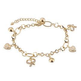 Surabaya Gold Collection - 9K Yellow Gold Bracelet (Size 7 with 1.5 inch Extender) with Heart, Ball, Bow Charm, Gold wt 4.82 Gms.