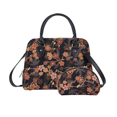 Signare Tapestry V&A Ume Sakura Collection - Top Handle Handbag with Adjustable Shoulder Strap