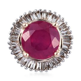 9K Yellow Gold African Ruby and Diamond Halo Pendant 1.30 Ct.