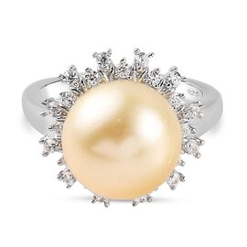 Royal Bali Collection - Golden South Sea Pearl and Natural Cambodian Zircon Ring in Platinum Overlay