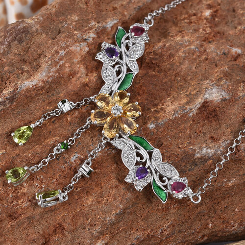 GP Citrine, Hebei Peridot and Multi Gemstone Necklace (Size 18 with 2 inch Extender) in Platinum Overlay Sterling Silver 4.905 Ct, Silver wt 11.12 Gms.