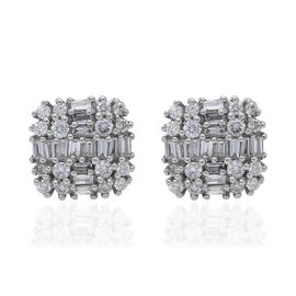RHAPSODY 950 Platinum SGL Certified Diamond (Rnd and Bgt) (VS/E-F) Stud Earrings (with Screw Back) 0