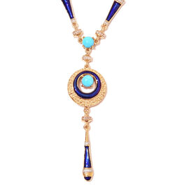 Arizona Sleeping Beauty Turquoise Enamelled Roman Design Necklace in Gold Plated Silver 18 Inch