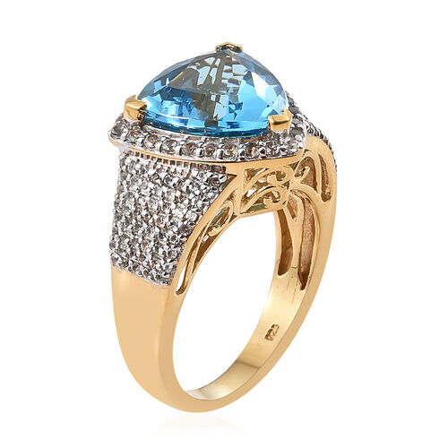TJC Launch - Marambaia Topaz (Trl 8.00 Ct), White Topaz Ring in 14K Gold Overlay Sterling Silver 9.000 Ct. Silver wt 7.19 Gms. Number of Gemstone 136