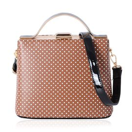 Boutique Collection Tan Colour Polka Dot Pattern Tote Bag with Removable Shoulder Strap (Size 22x18x