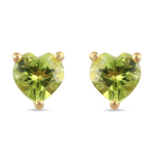 Peridot Heart Stud Earrings (with Push Back) in 14K Gold Overlay Sterling Silver 1.55 Ct.