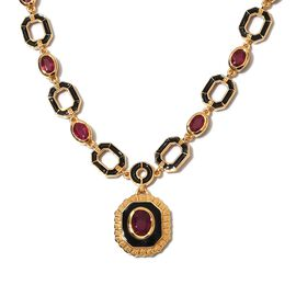 Designer -African Ruby Enamelled Necklace (Size 18) in 14K Gold Overlay Sterling Silver 12.00 Ct, Si