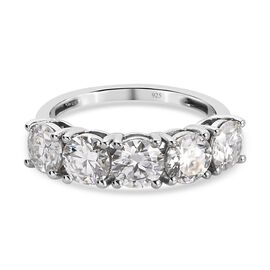 Moissanite 5 Stone Ring in Platinum Overlay Sterling Silver 2.150 Ct.