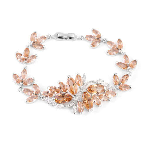 Simulated Champagne Diamond (Mrq), Simulated White Diamond Floral Bracelet (Size 7) in Silver Tone