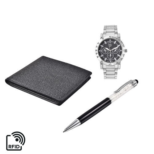 3 Piece Set - STRADA Japanese Movement Black Dial Water Resistant Watch with Chain Strap in Silver T