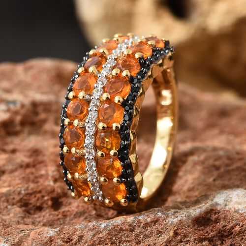 Jalisco Fire Opal (Rnd 1.15 Ct),Bio Ploi Black Spinel, Natural Cambodian Zircon Cluster Ring in 14K Gold Overlay Sterling Silver 1.750  Ct.
