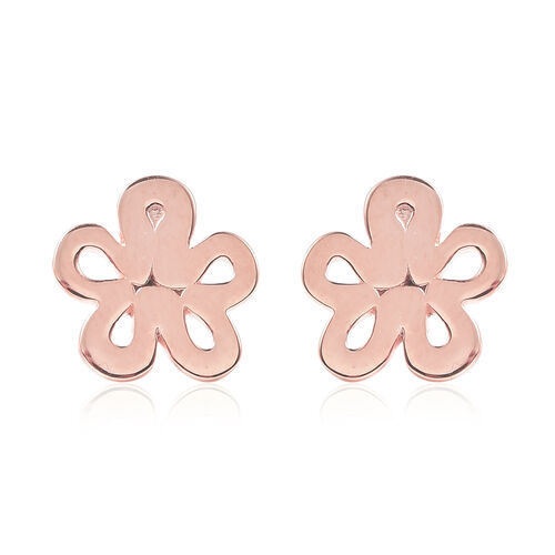 LucyQ Rose Gold Overlay Sterling Silver Flower Stud Earrings (with Push Back)