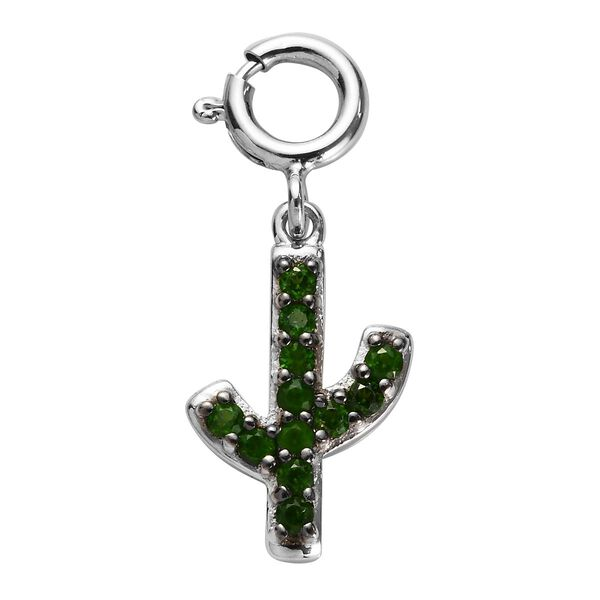 Sundays Child - AA Russian Diopside Cactus Charm in Platinum Overlay Sterling Silver