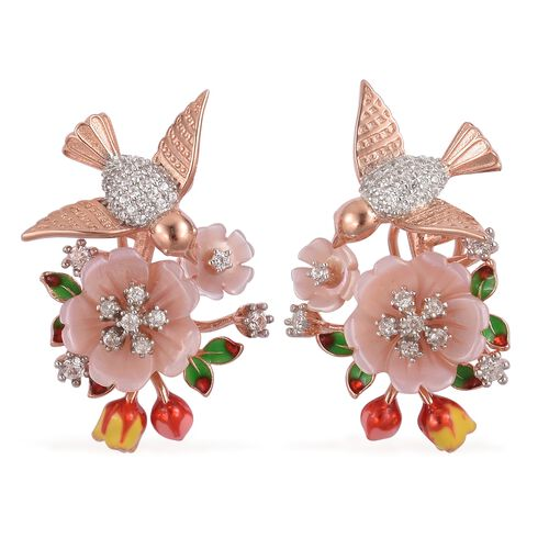 Jardin Collection - Pink Mother of Pearl and Natural White Cambodian Zircon Enameled Flower and Bird