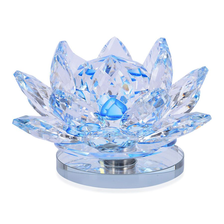 Home Decor Blue And White Austrian Crystal Lotus Flower On A