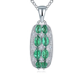 AAA Kagem Zambian Emerald (Mrq), Diamond Pendant with Chain (Size 18 with 1.5 inch Extender) in Rhod