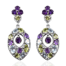 GP Amethyst and Multi Gemstone Earrings in Platinum Overlay Sterling Silver 5.750 Ct, Silver wt 8.09 Gms.