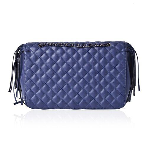 Navy Colour Diamond Pattern Shoulder Bag with Tassels (Size 25x16x7 Cm)