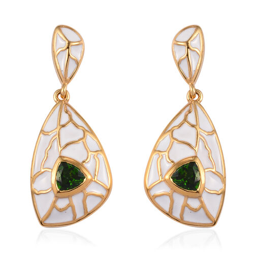 Russian Diopside Enamelled Earrings (with Push Back) in 14K Gold Overlay Sterling Silver 1.00 Ct, Si