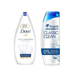 Dove Deeply Nourishing Body Wash - 500ml & Head & Shoulders Anti-Dandruff Repair & Care Shampoo - 25