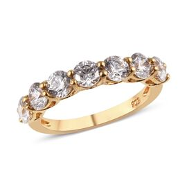 J Francis Made with SWAROVSKI ZIRCONIA 7 Stone Ring in 14K Gold Plated Sterling Silver