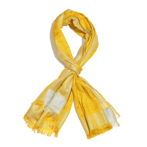 100% Modal Spectra Yellow and Silver Colour Scarf with Fringes (Size 180X70 Cm)