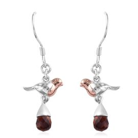 Madeira Citrine Robin Bird Hook Earrings in Rose Gold and Platinum Overlay Sterling Silver 2.25 Ct.