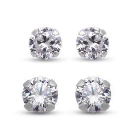 Set of 2 - Simulated Diamond Stud Earrings (with Push Back) in Sterling Silver