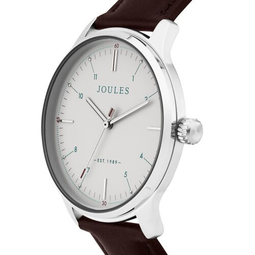 Joules Gents Watch with Matte Cream Dial and Brown Strap