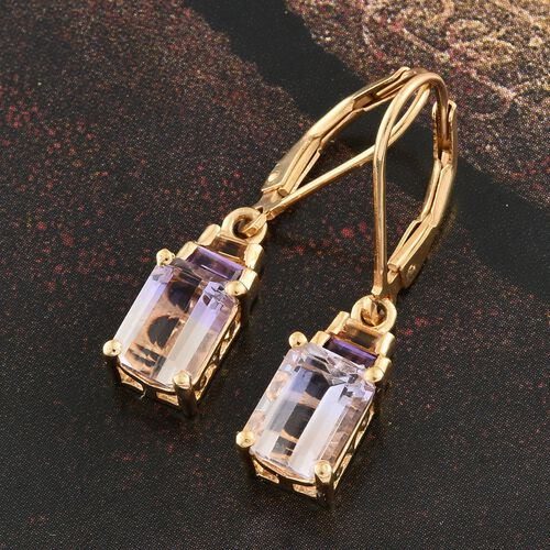 Anahi Ametrine (Oct), Amethyst and Citrine Lever Back Earrings in 14K Gold Overlay Sterling Silver 3.400 Ct.