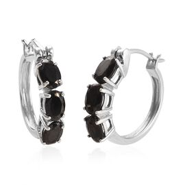 Elite Shungite (Ovl) Hoop Earrings (with Clasp) in Platinum Overlay Sterling Silver 1.80 Ct.