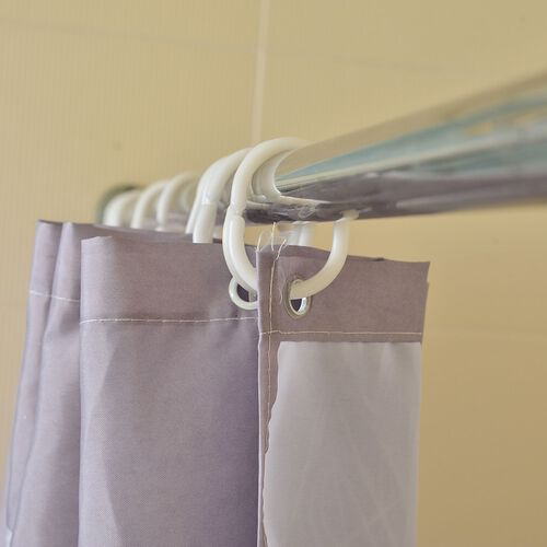 Metallic Grey and Lemon Colour Water Proof Shower Curtain with 12 Plastic Hooks (Size 180X180 Cm)