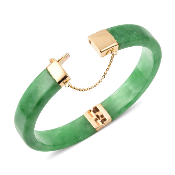Green Jade Bangle (Size 7.5) in Yellow Gold Overlay Sterling Silver 207.00 Ct, Silver wt 5.92 Gms