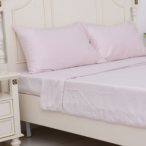 Double Size Set of 4- Crepe Pink Colour Matt Satin Duvet Cover (Size 200x200 Cm), Fitted Sheet (Size 190x140x30 Cm) and 2 Pillow Cases (75x50 Cm)