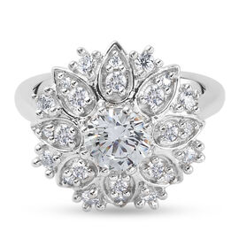 J Francis Platinum Overlay Sterling Silver Floral Cluster Ring Made with SWAROVSKI ZIRCONIA 2.45 Ct.