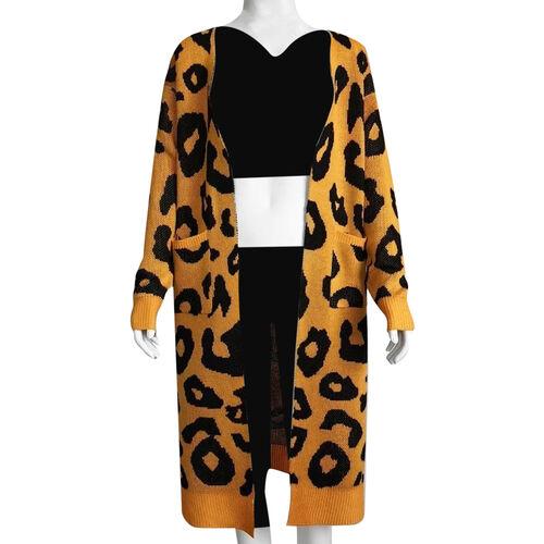 Kris Ana Animal Print Longline Wool Cardigan One Size (8-18) - Mustard