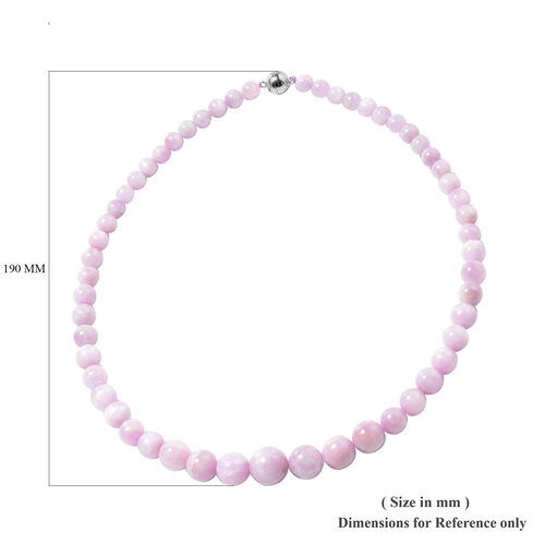 Kunzite Beads Necklace (Size 20) with Magnetic Lock in Rhodium Overlay Sterling Silver 382.00 Ct.