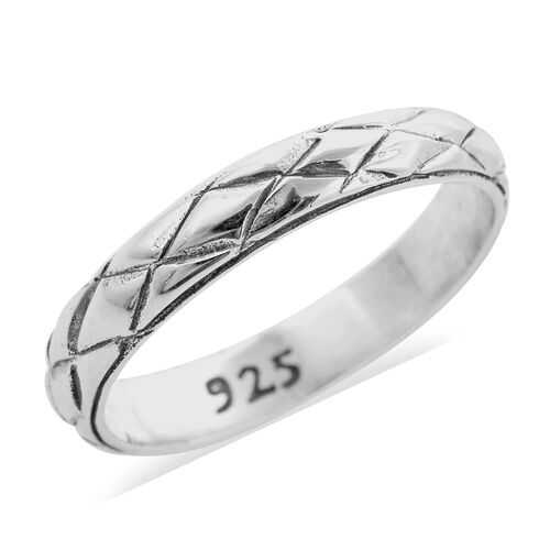 Royal Bali Collection Diamond Pattern Band Ring in Sterling Silver 3.10 Grams