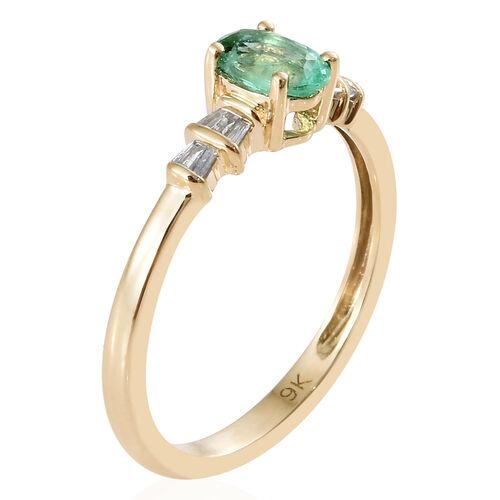 9K Yellow Gold AA Boyaca Colombian Emerald (Ovl), Diamond Ring  0.500 Ct