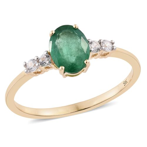 1.15 Ct AAA Zambian Emerald and Cambodian Zircon Solitaire Ring in 9K Gold 1.45 Grams
