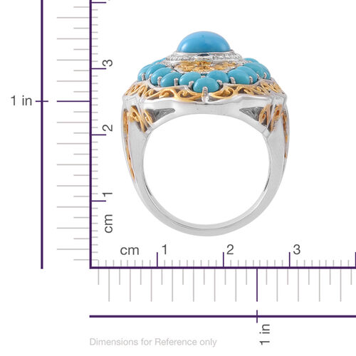 Arizona Sleeping Beauty Turquoise (Ovl 2.70 Ct), Kanchanaburi Blue Sapphire Ring in Rhodium Plated Sterling Silver 7.500 Ct. (Sterling Silver Wt 20.00 Gms)