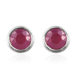 African Ruby (Rnd) Stud Earrings (with Push Back) in Platinum Plated Silver 0.75 Ct