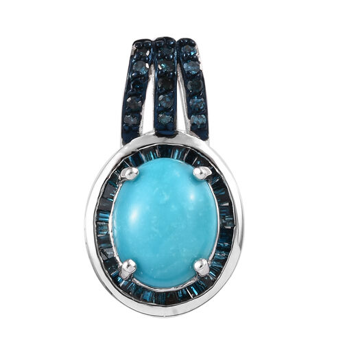 2.38 Ct Arizona Sleeping Beauty Turquoise and Diamond Halo Design Pendant in Platinum Plated Silver