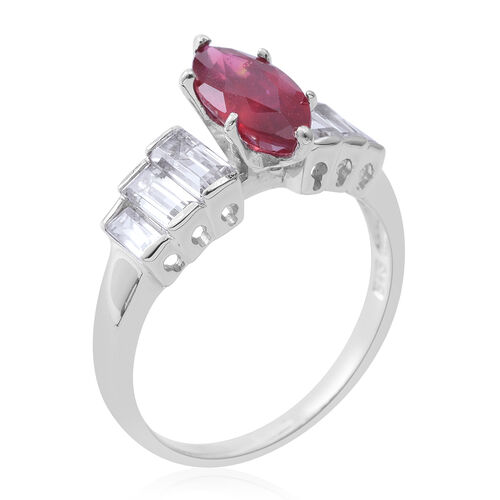 African Ruby (Mrq 2.50 Ct), White Topaz Ring in Rhodium Plated Sterling Silver 4.250 Ct.