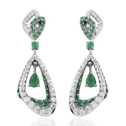 5.50 Ct AA Kagem Zambian Emerald and Natural Cambodian Zircon Dangle Earrings in Silver 9.35 grams